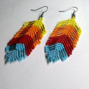 🥇HP🥇Handmade Dangle Feather Beaded Long Earrings